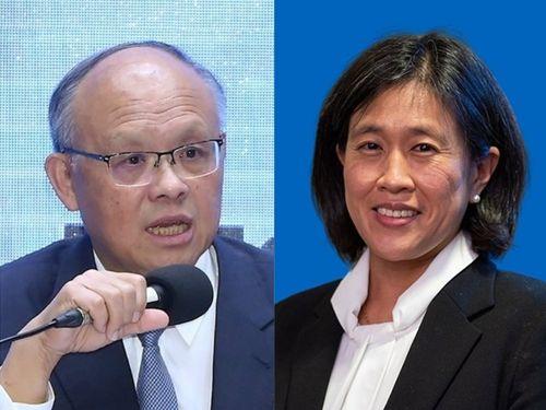 鄧政務委員(左)とタイ米通商代表=右写真はホワイトハウスの公式ウェブサイトから