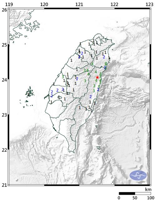 各地の推計震度分布図=中央気象局提供