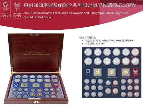東京五輪・パラリンピック特別記念貨幣セット(台湾銀行提供)