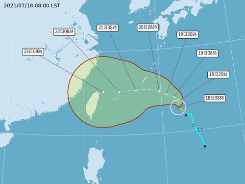 台風6号が発生 23~24日、台湾への影響最も顕著に=中央気象局提供