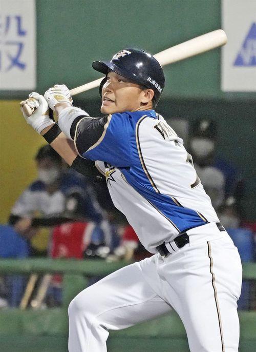 北海道日本ハムファイターズの王柏融外野手=共同通信社提供