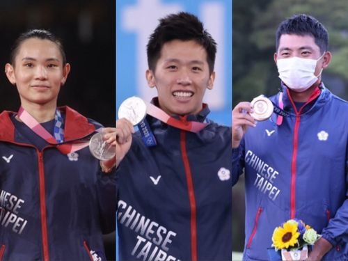 左から、バドミントン女子の戴資穎、体操男子の李智凱、ゴルフ男子の潘政琮(潘の写真は教育部体育署提供)