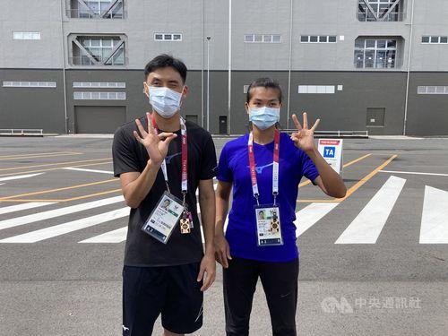 陸上男子走り幅跳びの楊川輝選手(左)と陸上女子やり投げの劉雅婷選手=教育部体育署提供