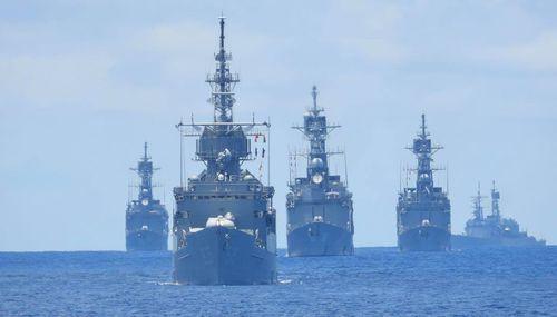 海軍の対抗演習、キッド級駆逐艦4隻そろう=写真は中華民国海軍艦隊のフェイスブックから