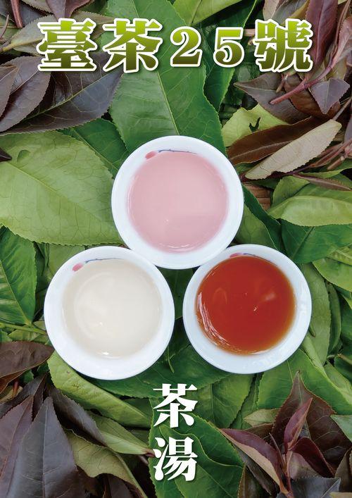 新種の台湾茶「台茶25号」。左下は緑茶、中央上はレモン果汁を入れた緑茶、右下は紅茶=茶改場提供