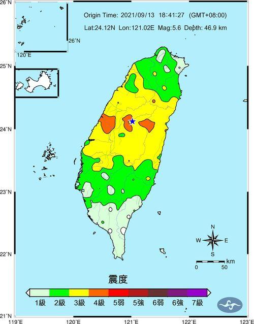 13日午後6時41分ごろに起きた地震の推計震度分布図=中央気象局提供