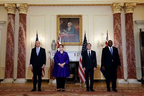 左からオーストラリアのダットン国防相、ペイン外相、米国のブリンケン国務長官、オースティン国防長官=ペイン氏のツイッターから