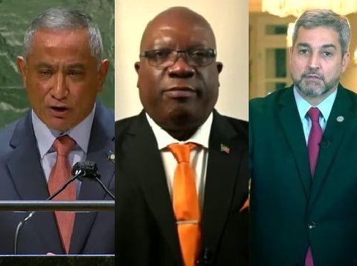 左からベリーズのジョン・ブリセーニョ首相、セントクリストファー・ネービスのティモシー・ハリス首相、パラグアイのマリオ・アブド・ベニテス大統領=国連の公式ユーチューブチャンネルから