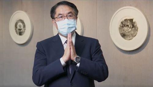 コロナの早期収束を願う黄台南市長=同市政府提供