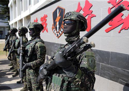 台湾の海軍陸戦隊(海兵隊)員=資料写真