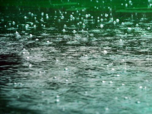 水面を跳ねる水のショー、雨の日限定