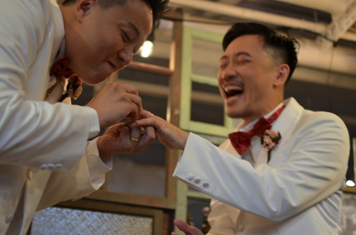 Gay couple finds common ground with Taiwan's traditional values