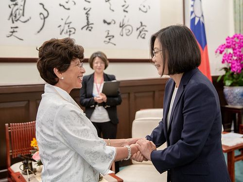 President Tsai Ing-wen (蔡英文, right) and Guatemalan Ambassador to Taiwan Olga Maria Aguja Zuniga/Image taken from the Presidential Office's website.