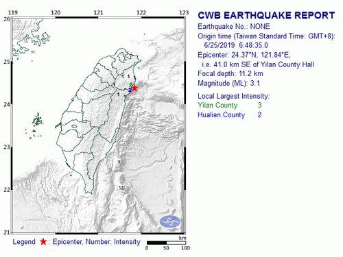 Magnitude 3.1 quake rocks northeastern Taiwan