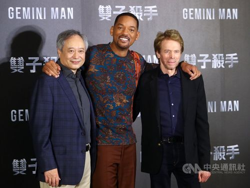 Will Smith (center), Ang Lee (left), and Jerry Bruckheimer (right)