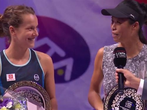 Barbora Strycova and Hsieh Su-wei (Photo from twitter.com/WTA)
