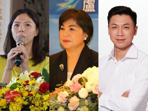 Hung Tzu-yung, Yang Chiung-ying and Taiwan People's Party candidate Chang Ruei-tsang (from left to right)