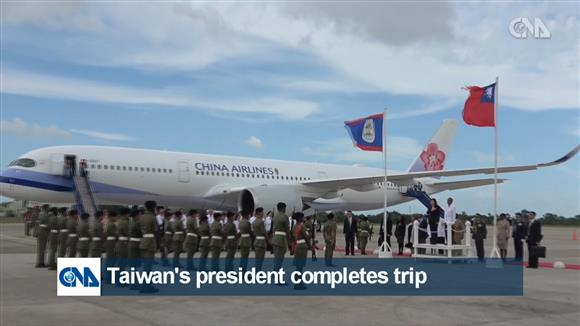 Taiwan's president completes trip