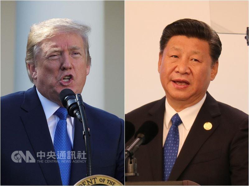 美國總統川普(左)22日說,他視中國國家主席習近平(右)為朋友,然而美中貿易逆差問題已「失控」,美國必須反制。(中央社檔案照片)