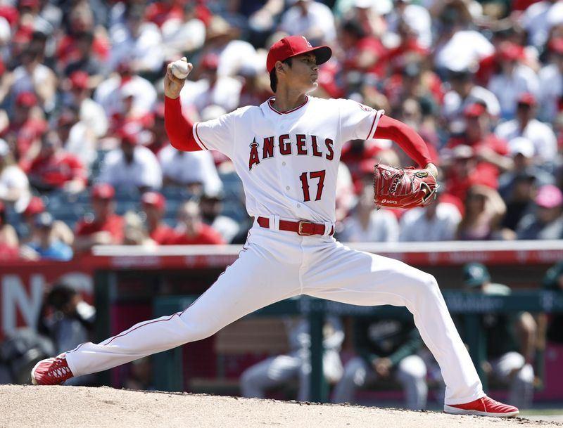 美國職棒MLB日籍巨星大谷翔平8日先發,投7局只被敲一支安打,送出12次三振,助洛杉磯天使以6比1擊敗奧克蘭運動家。(共同社提供)