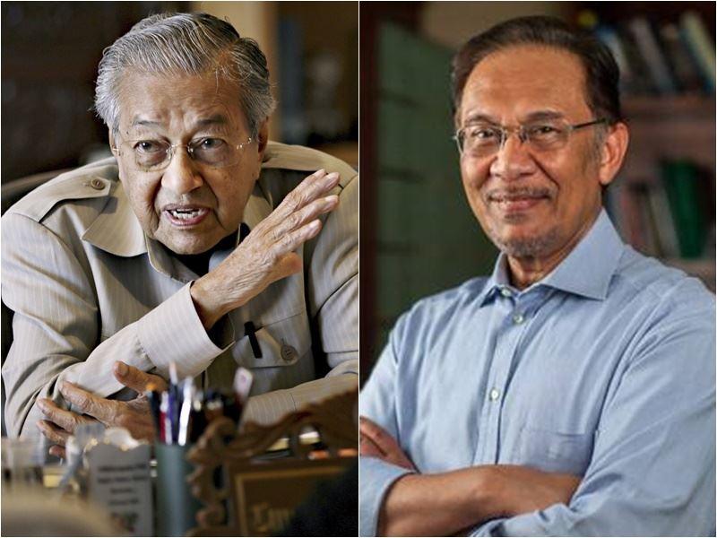 前首相馬哈地(左)這次重返政壇,不惜和過往有恩怨情仇的安華(右)上演和解戲碼,與在野各黨共組「希望聯盟」。(圖左為檔案照片/共同社提供;右為安華臉書/www.facebook.com)