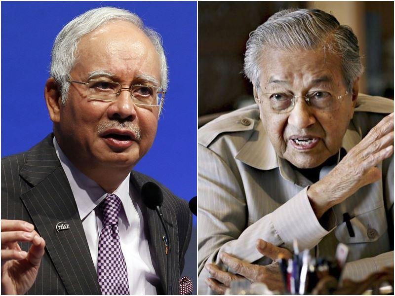 馬來西亞首相納吉(左)在大選不敵敗陣,輸給昔日政治導師、高齡92歲的馬哈地(右)。(圖左為中央社檔案照片;右為檔案照片/共同社提供)