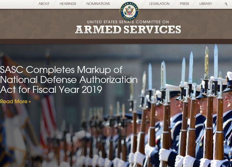 美國聯邦參議院軍事委員會24日通過7160億美元年度國防政策法案。(圖取自美國聯邦參議院軍事委員會官網www.armed-services.senate.gov)