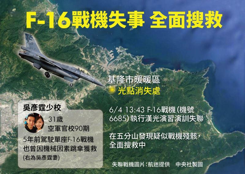 花蓮基地一架F-16單座戰機4日下午1時43分由飛行官吳彥霆少校在北部空域執行演訓時,光點在基隆暖暖粗坑山區消失。(中央社製圖)