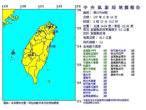 宜蘭縣近海16日清晨4時53分發生芮氏規模5.2地震。(圖取自中央氣象局網頁cwb.gov.tw)