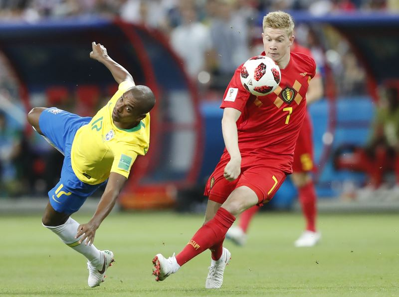 比利時「紅魔鬼」今在世界盃8強賽2比1擊敗「森巴軍團」巴西,也使全球身價最高的巴西球星內馬爾結束本屆俄羅斯之旅。(達志提供)