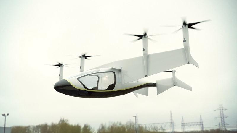 勞斯萊斯集團公布新計畫,將研發一款稱為空中計程車(圖)的油電混合交通工具,5年內或許就能升空。(圖取自勞斯萊斯官方推特twitter.com/rollsroyce)