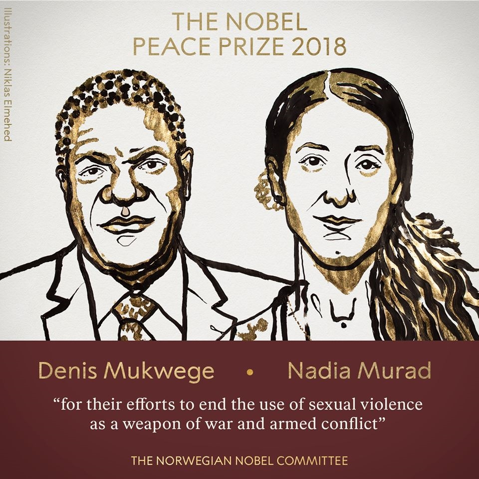 剛果婦科醫師穆克維格和人權鬥士穆拉德因勇於對抗全世界衝突中的性暴力,榮獲2018年諾貝爾和平獎。(圖取自NobelPrize臉書facebook.com/nobelprize)