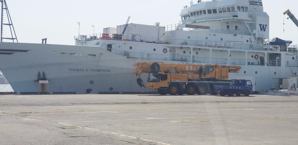 美國海軍研究辦公室研究船「湯瑪斯號」15日上午8時30分進港後,停泊於高雄港9號碼頭,預訂18日清晨6時出港。(高雄海關提供)中央社記者程啟峰高雄傳真 107年10月16日