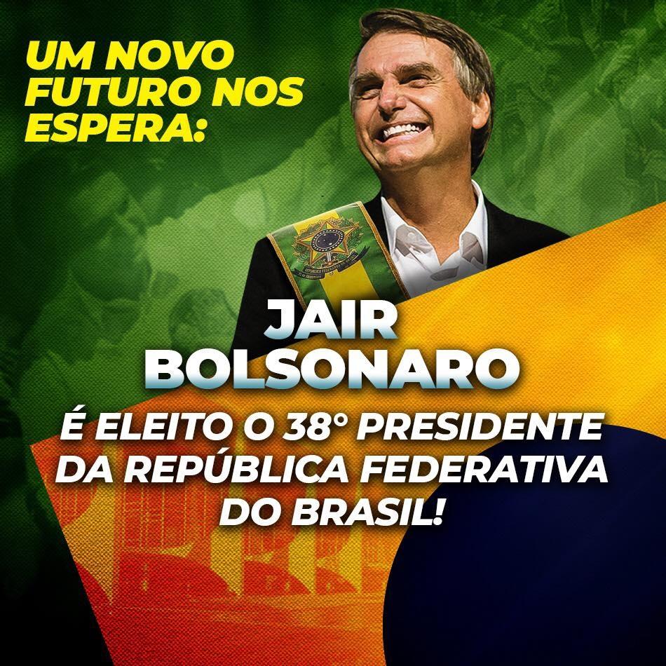 波索納洛贏得巴西總統大選,他在臉書上貼出寫有「一個新的未來等著我們」、「Jair Bolsonaro 當選第38屆巴西聯邦共和國總統」的照片。(圖取自臉書www.facebook.com/jairmessias.bolsonaro)