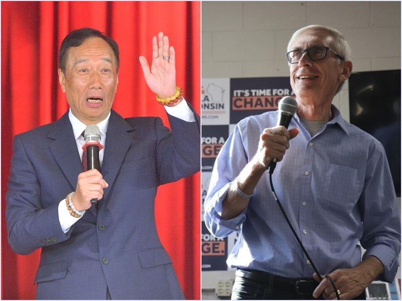 威斯康辛州州長選舉,艾佛斯(右)篤定當選,鴻海表示,期待未來與艾佛斯一起推動威谷科技園區計畫。圖左為鴻海董事長郭台銘。(圖左為中央社檔案照片,右取自推特twitter.com/tony4wi)