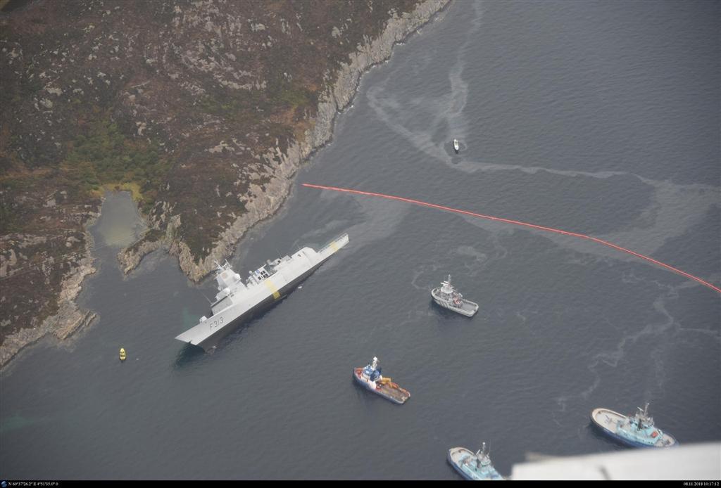 挪威海軍巡防艦殷格斯塔號(圖)8日在該國西部峽灣和馬爾他籍油輪相撞,部分進水。(圖取自挪威海岸管理局網頁kystverket.no)
