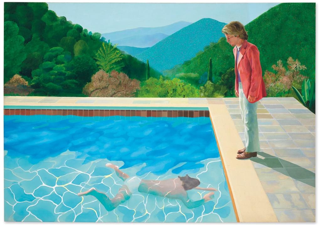 英國傳奇藝術家大衛.霍克尼作品「藝術家肖像畫:游泳池畔的兩個人」, 15日以9030萬美元成交,創在世藝術家作品拍賣新高紀錄。(圖取自christies.com)