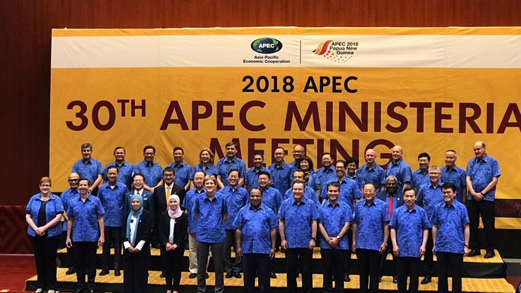 APEC第30屆部長級年會11月15日在巴布亞紐幾內亞召開,台灣由政務委員鄧振中與國發會主委陳美伶共同率團出席。(國家發展委員會提供)中央社記者潘姿羽傳真 107年11月16日
