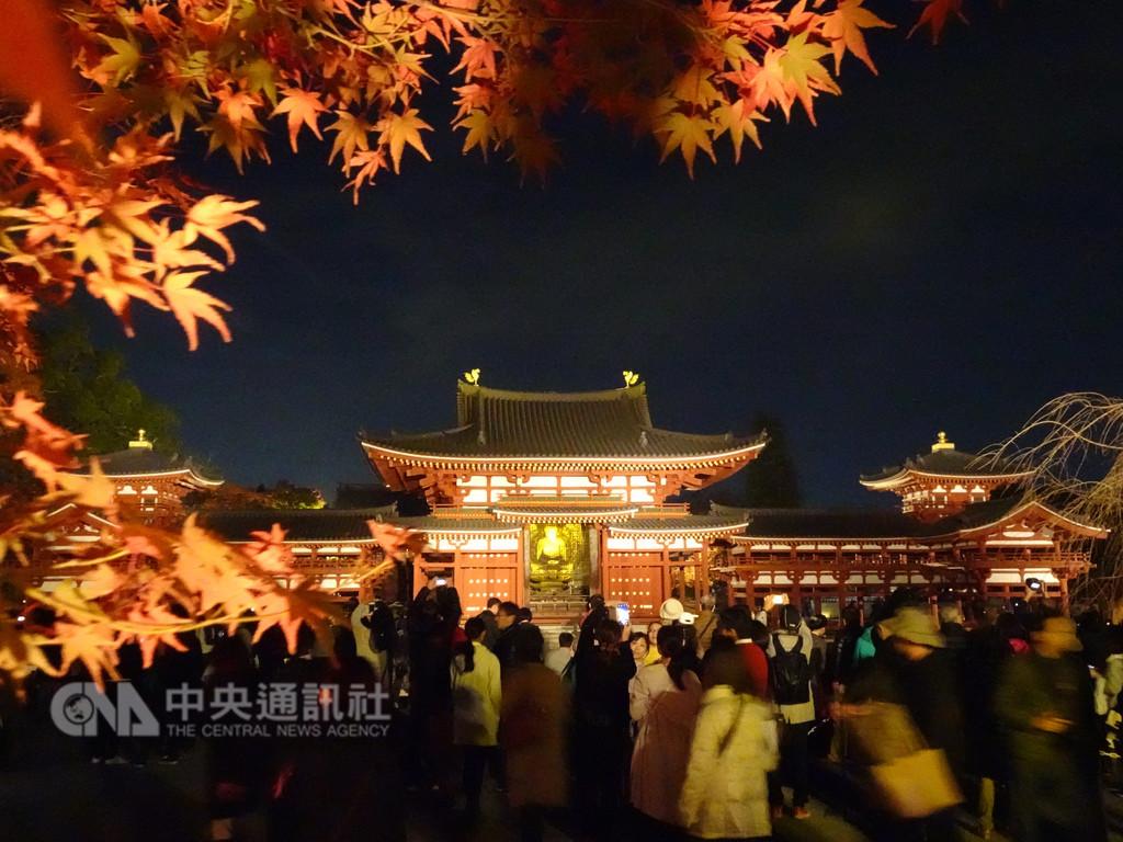 京都宇治市平等院17日起舉辦「瑞光照歡錦秋之光」活動,遊客看到彷彿浮在池中的平等院之美,嘆為觀止。中央社記者楊明珠京都攝 107年11月18日