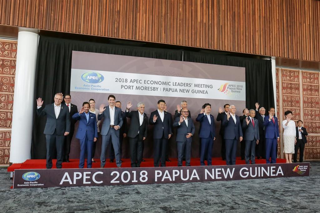 今年在巴紐舉行的APEC峰會18日落幕,史上首次沒有發布領袖宣言。圖為各經濟體領袖在閉門會議前合照。(中華台北代表團提供)