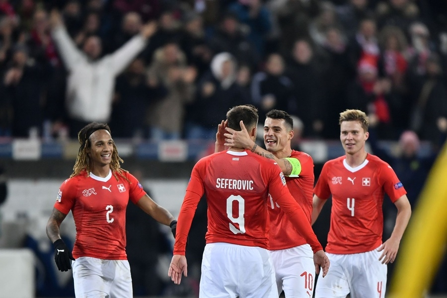 歐洲足球總會「國家聯賽」,瑞士以5比2後來居上擊敗比利時。(圖取自facebook.com/EURO2020)
