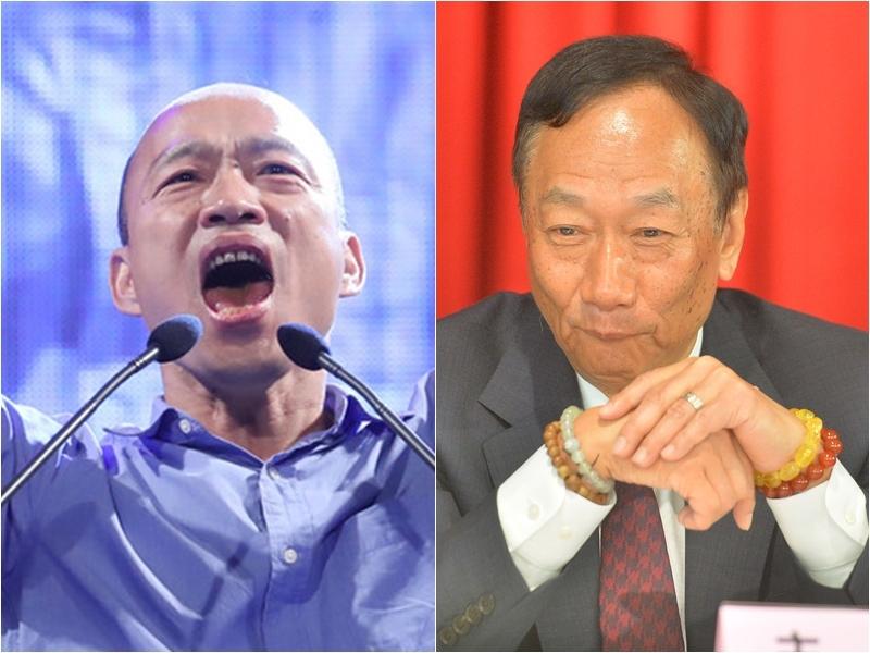 韓國瑜(左)和鴻海董事長郭台銘通電話,力邀投資高雄。(中央社檔案照片)