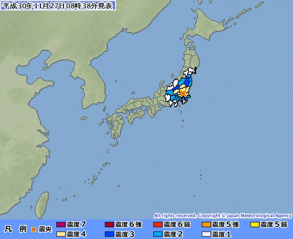 日本27日上午8時33分左右發生一起震央位於茨城縣南部的有感地震,深度約50公里,推估地震規模5.0。(圖取自日本氣象廳網頁www.jma.go.jp)