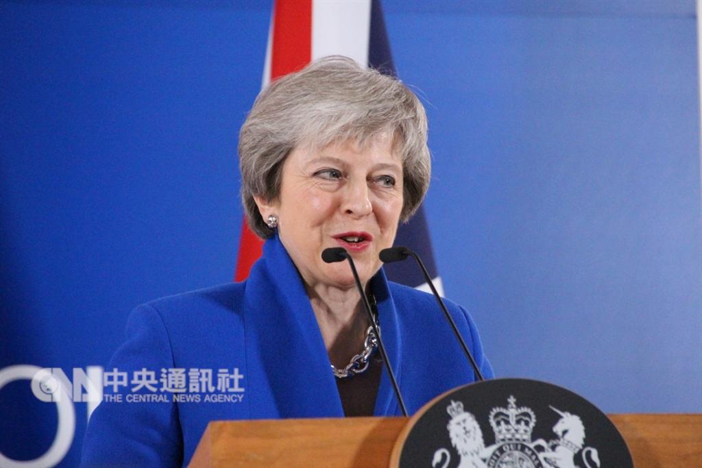 英國2017年大選後,保守黨的梅伊(圖)靠民主聯盟黨支持成立少數政府,但這個北愛小黨上11月就表明不支持梅伊的脫歐協議。(中央社檔案照片)