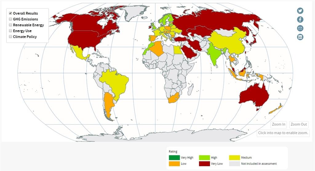 國際組織「德國看守」10日公布減碳成績評比。(圖取自氣候變遷績效指標網頁www.climate-change-performance-index.org)