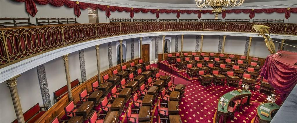 美國聯邦參議院23日休會,美國政府部分停擺情形料延續至耶誕節過後。圖為美國參議院。(圖取自美國參議院網頁www.senate.gov)