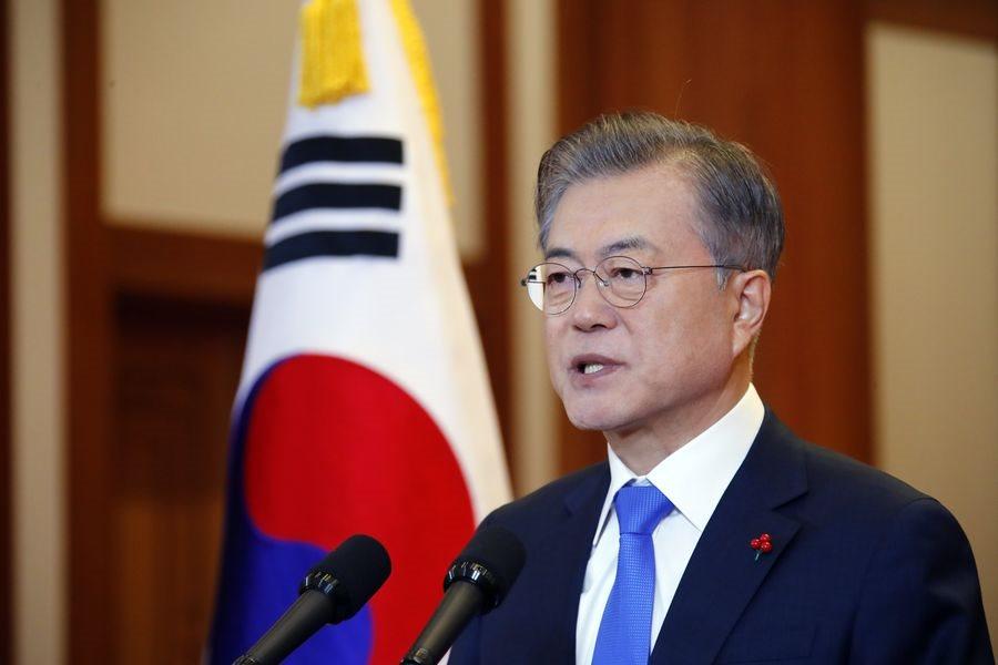 南韓總統文在寅10日在青瓦台新年記者會指出,過去一年親眼見證努力就可獲得和平,今年朝鮮半島和平進程會更加速。(韓聯社提供)