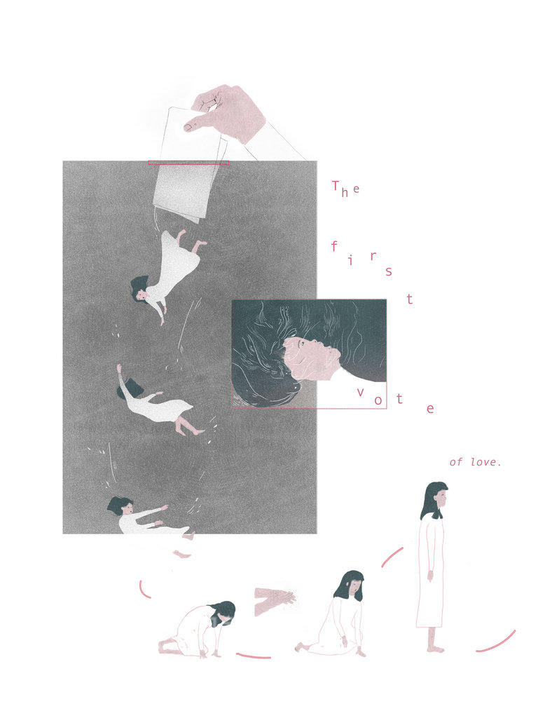台灣新銳畫家饒予安以婚姻平權公投為靈感創作The first vote of love漫畫,闖進法國安古蘭國際漫畫節Draw Me Comics競賽前3名,提前確定替台灣漫畫留下一座獎項。圖為作品圖之一。(大塊文化提供)中央社記者江佩凌傳真 108年1月15日