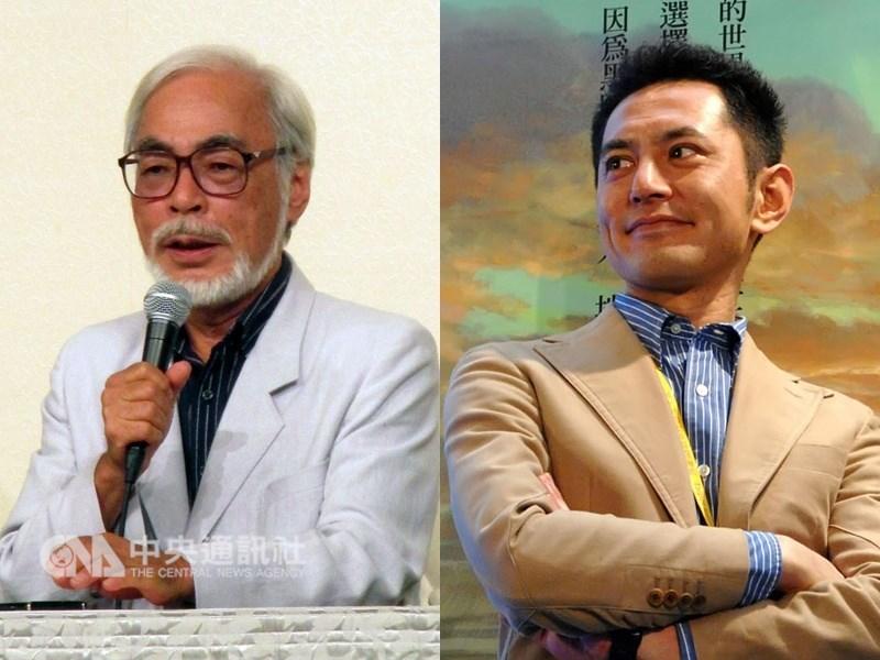 吉卜力工作室會長星野康二接受中央社專訪表示,導演宮崎駿(左)兒子宮崎吾朗(右)的新動畫,將是吉卜力第一部全面採用CG的動畫電影。(中央社檔案照片)