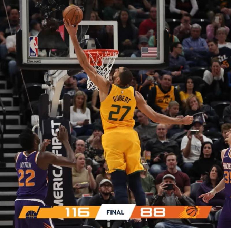 NBA猶他爵士6日主場迎戰鳳凰城太陽,以116比88輕鬆拿下勝利,太陽苦吞12連敗。(圖取自facebook.com/utahjazz)